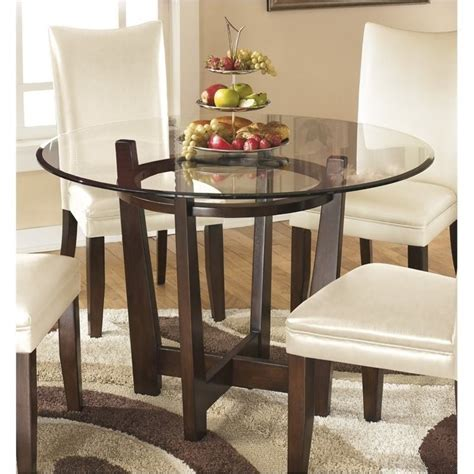 Bowery Hill Glass Round Dining Table in Medium Brown - BH