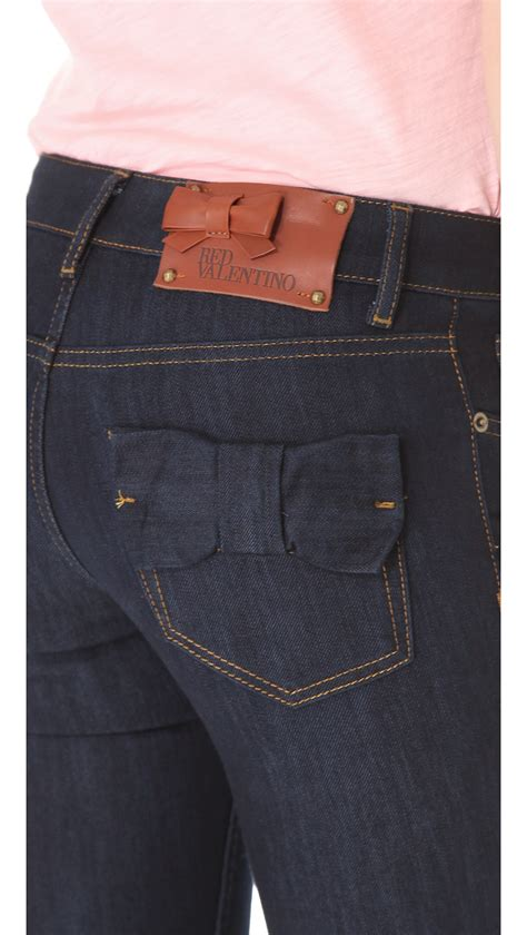 Lyst - Red Valentino Bow Pocket Jeans in Blue