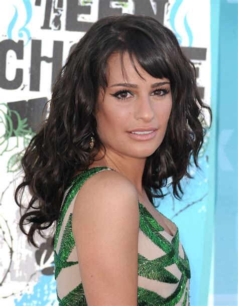 A raven-haired Lea Michele matched her emerald green