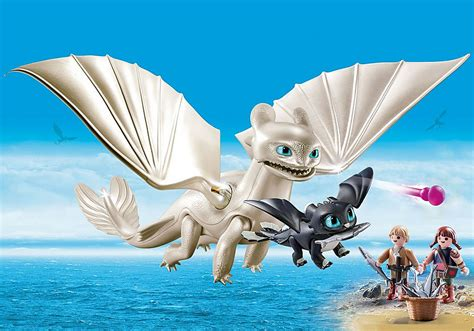 Light Fury with Baby Dragon and Children - 70038